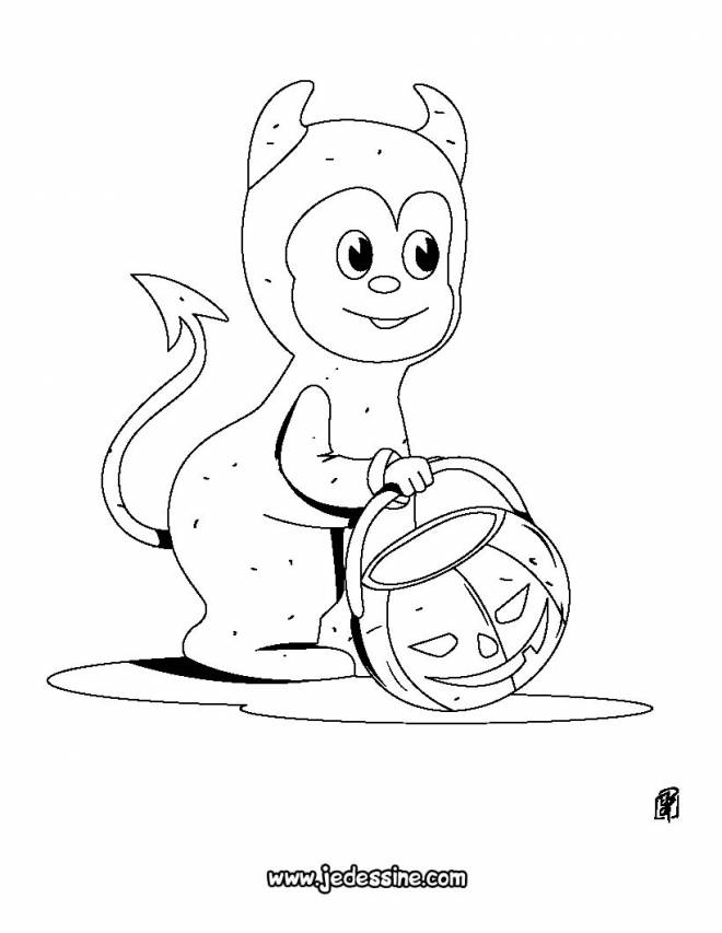 Free coloring and drawings A little Halloween devil Coloring page