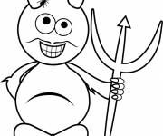 Free coloring and drawings Devil with mustache for child Coloring page