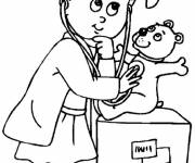 Coloring pages A bear examines