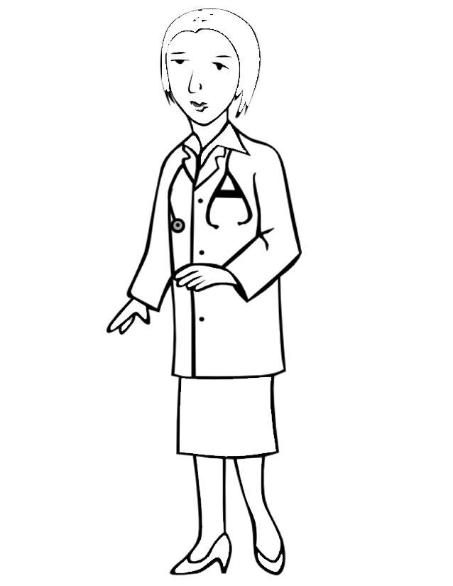 Free coloring and drawings A female doctor Coloring page