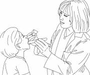 Coloring pages Doctor and child