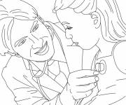 Coloring pages Doctor and little patient