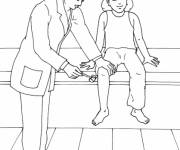 Coloring pages Doctor examines a girl