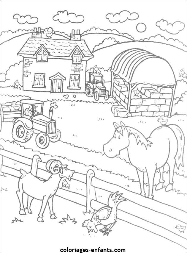 Free coloring and drawings A farm easy Coloring page