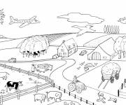 Free coloring and drawings Farm with animals Coloring page