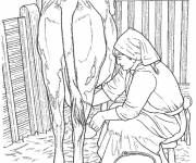 Free coloring and drawings Farmer and cow Coloring page