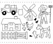 Coloring pages Farmer and his farm animals