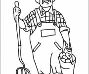 Free coloring and drawings Farmer carries a bucket Coloring page