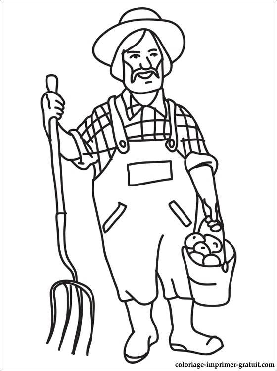 Download Free printable Farmer coloring pages