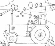 Coloring pages Farmer in his tractor