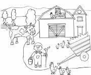 Free coloring and drawings Farmer in the countryside Coloring page