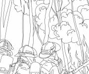 Coloring pages Firefighter and fire
