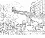 Free coloring and drawings Firefighter Fighting Fire Coloring page