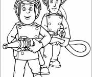 Coloring pages Fireman Sam and The Fire Hose