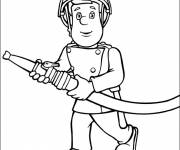 Coloring pages Fireman Sam the hero