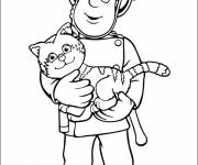 Free coloring and drawings Fireman saves The Cat Coloring page