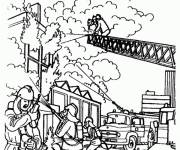 Free coloring and drawings Fireman to put out the fire Coloring page