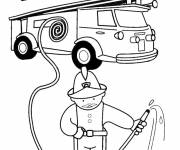 Free coloring and drawings Single firefighter Coloring page