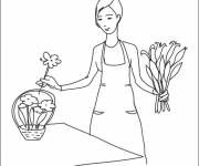 Free coloring and drawings color Florist and flowers Coloring page