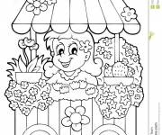 Coloring pages Florist easy drawing