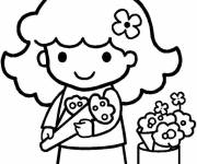 Coloring pages Florist flowers to cut