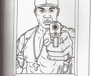 Coloring pages Gangster 50 Cent