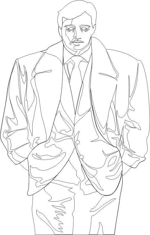 Free coloring and drawings Gangster and a vest Coloring page