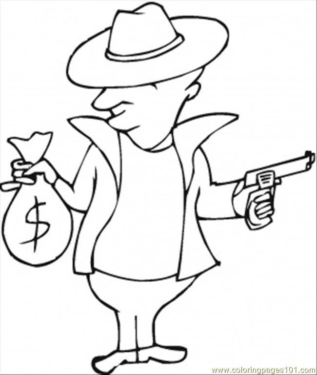 Free coloring and drawings Gangster and Money Coloring page