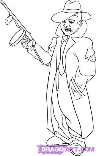 Free coloring and drawings Gangster and Rifle Coloring page