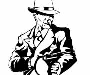 Coloring pages Gangster in costume with submachine gun