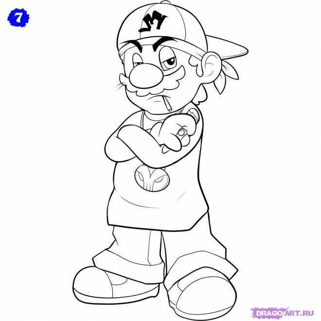 Free coloring and drawings Gangster Marion for children Coloring page