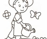 Coloring pages Child gardener and butterflies