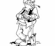 Coloring pages Farmer and gardens