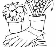 Coloring pages Flower pots and accessories
