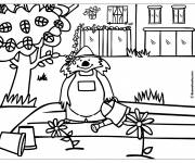 Coloring pages Little bear gardening