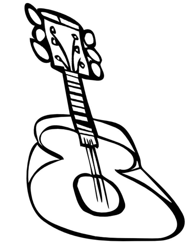 Free coloring and drawings a 3d guitar Coloring page
