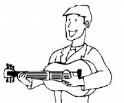 Free coloring and drawings Guitarist carries his guitar Coloring page