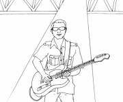 Coloring pages Guitarist in full performance