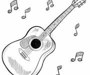 Free coloring and drawings Musical instrument guitar Coloring page