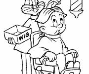 Coloring pages Bugs Bunny styling his client's hair