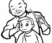 Coloring pages Hairdresser and child