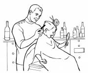 Coloring pages Hairdresser cuts a boy's hair