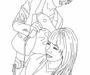 Coloring pages Hairdresser dries hair