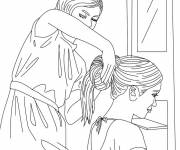 Coloring pages Woman hairstyle