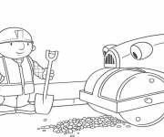 Coloring pages Bob the builder and Roulo to color