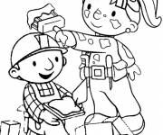 Coloring pages Bob the builder and zoe at work