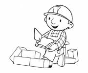 Coloring pages Bob the builder builds a wall