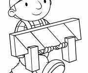 Coloring pages Bob the builder carries a sign