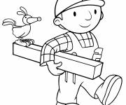 Coloring pages Bob the builder uses wood