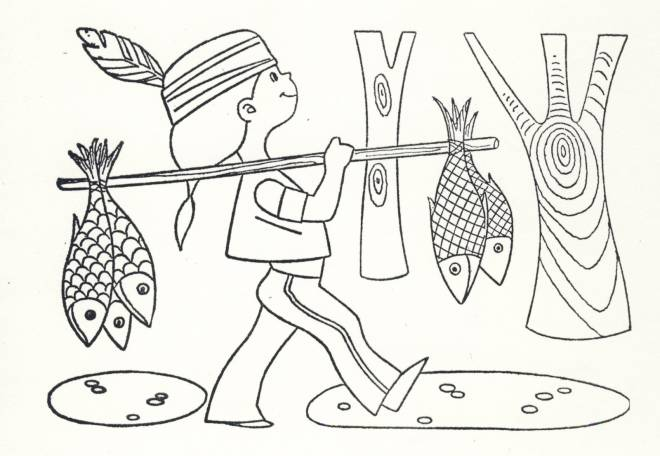 Free coloring and drawings A little Indian girl brings fish Coloring page